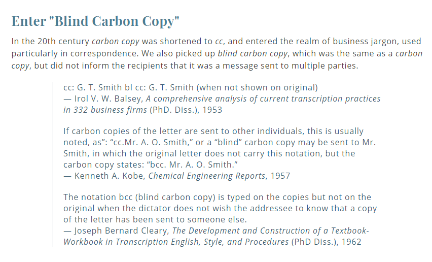 meaning of Blind Carbon Copy