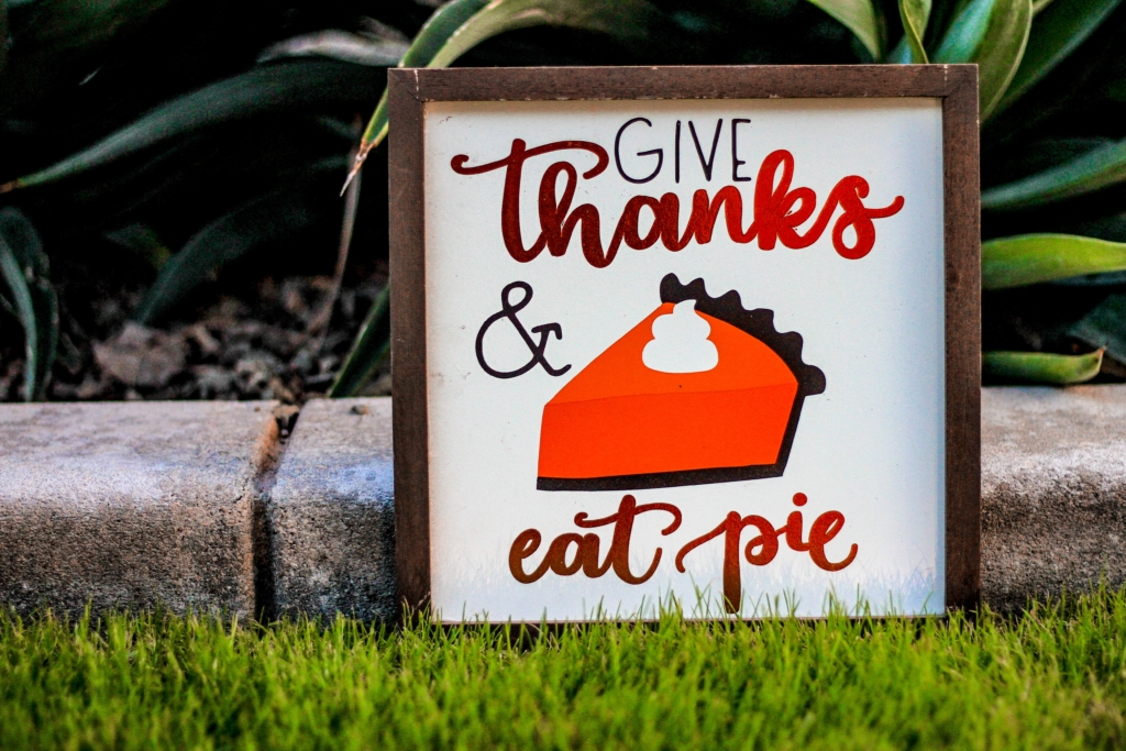Give Thanks and Eat Pie poster with brown frame on green grass